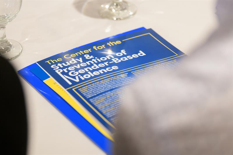 "A brochure on a table reads ""The Center for the Study and Prevention of Gender-Based Violence."""